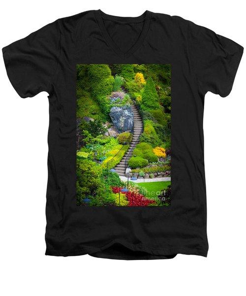 Butchart Gardens Stairs Men's V-Neck T-Shirt