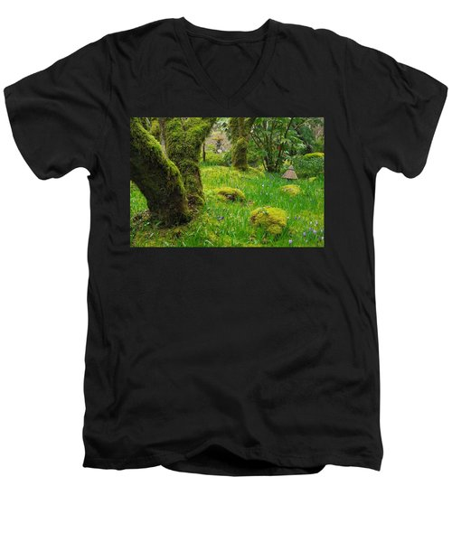 Men's V-Neck T-Shirt featuring the photograph Butchart Gardens - Vancouver Island by Marilyn Wilson