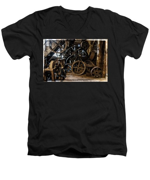 Butte Creek Mill Interior Scene Men's V-Neck T-Shirt by Mick Anderson