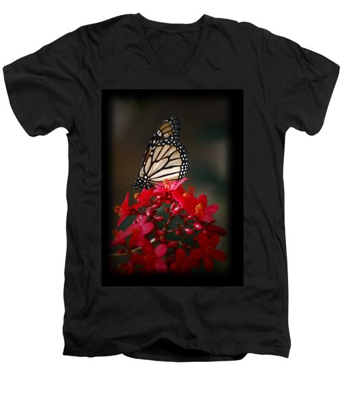 Men's V-Neck T-Shirt featuring the photograph Butterfly 6 by Leticia Latocki