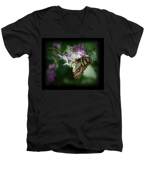 Men's V-Neck T-Shirt featuring the photograph Butterfly 7 by Leticia Latocki