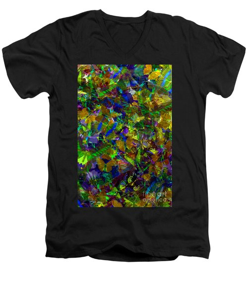Men's V-Neck T-Shirt featuring the photograph Butterfly Collage Yellow by Robert Meanor