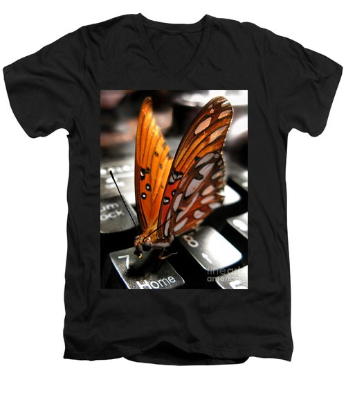Men's V-Neck T-Shirt featuring the photograph Butterfly Home At 7 by Jennie Breeze