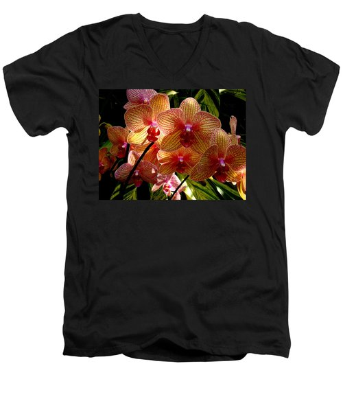 Men's V-Neck T-Shirt featuring the photograph Butterfly Orchids by Rodney Lee Williams