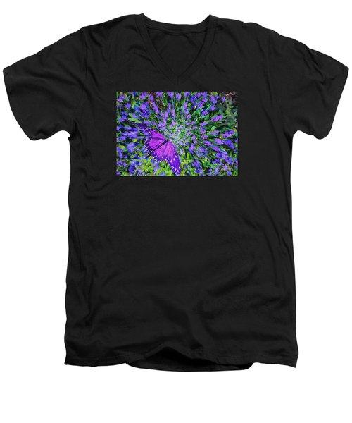Men's V-Neck T-Shirt featuring the digital art Butterfly.1 by Mariarosa Rockefeller