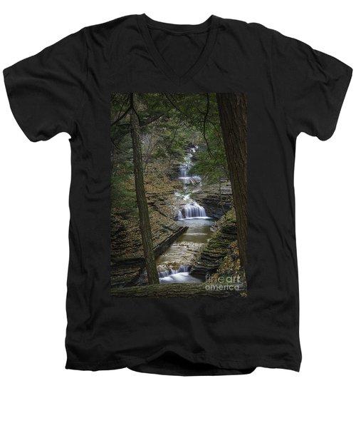 Buttermilk Falls In Autumn IIi Men's V-Neck T-Shirt