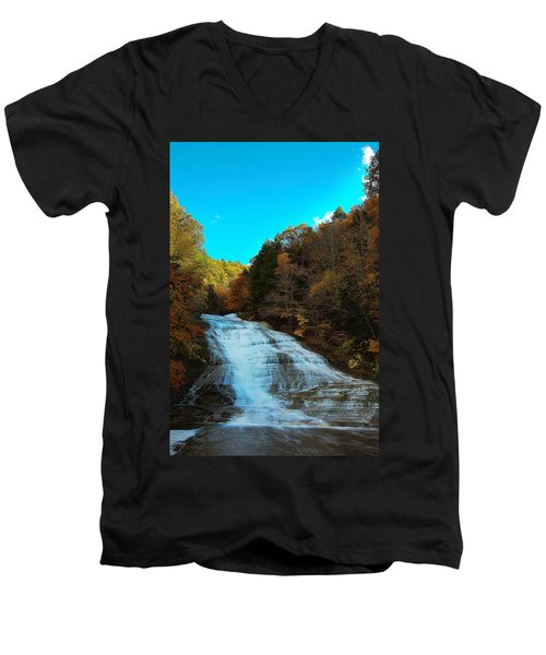 Men's V-Neck T-Shirt featuring the photograph Buttermilk Falls Ithaca New York by Paul Ge