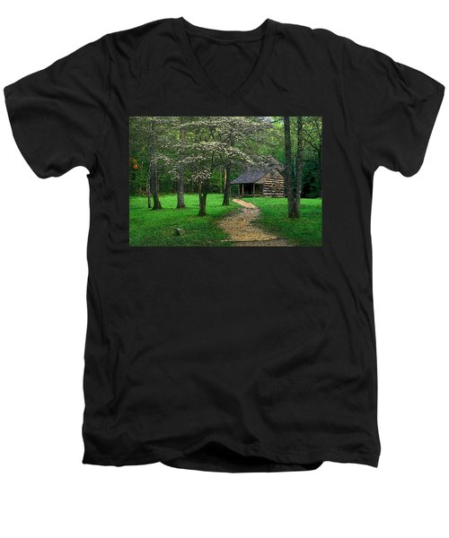 Men's V-Neck T-Shirt featuring the photograph Cabin In Cades Cove by Rodney Lee Williams