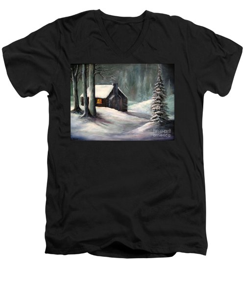 Cabin In The Woods Men's V-Neck T-Shirt by Hazel Holland