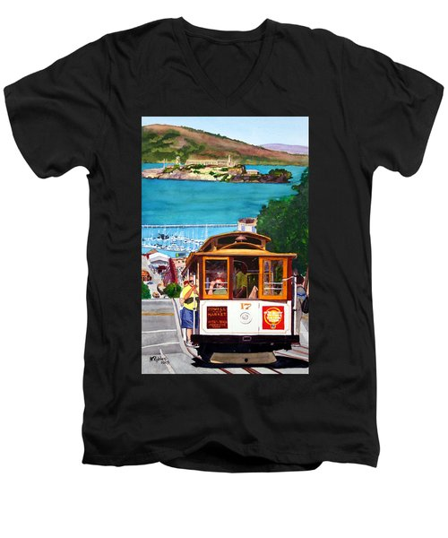 Cable Car No. 17 Men's V-Neck T-Shirt by Mike Robles