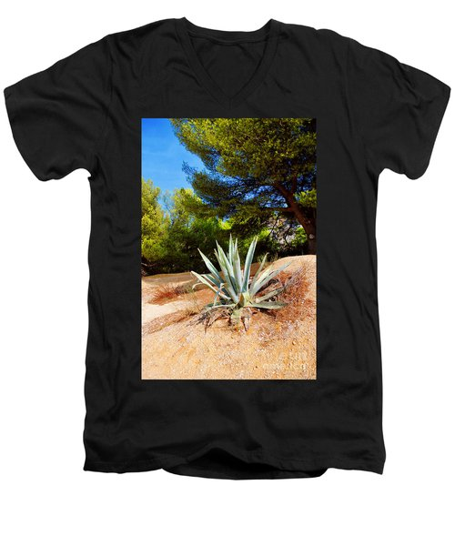 Cactus On A Rocky Coast Of French Riviera Men's V-Neck T-Shirt by Maja Sokolowska