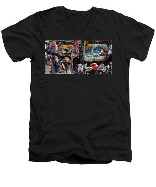 Cadillac Ranch Abstract Men's V-Neck T-Shirt