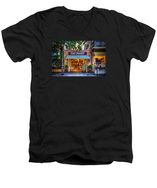 Cafe Beignet Morning Nola Men's V-Neck T-Shirt by Kathleen K Parker