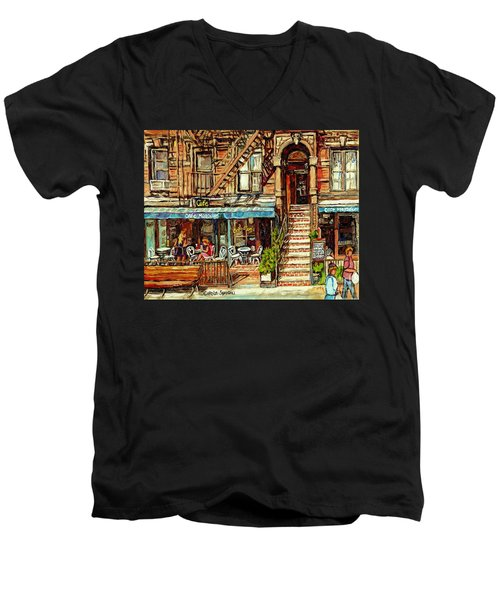 Cafe Mogador Moroccan Mediterranean Cuisine New York Paintings East Village Storefronts Street Scene Men's V-Neck T-Shirt