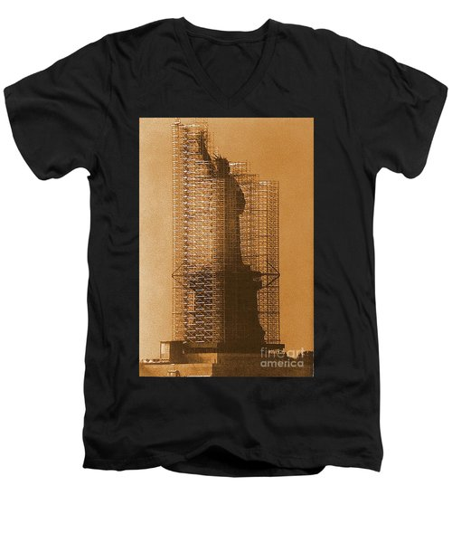 Men's V-Neck T-Shirt featuring the photograph Lady Liberty Statue Of Liberty Caged Freedom by Michael Hoard