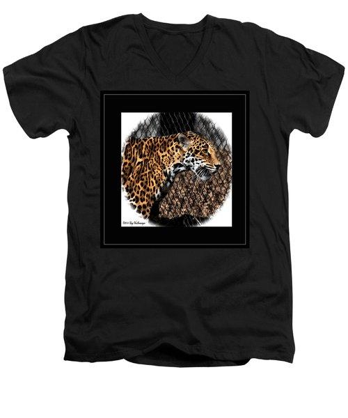 Caged Jaguar Men's V-Neck T-Shirt