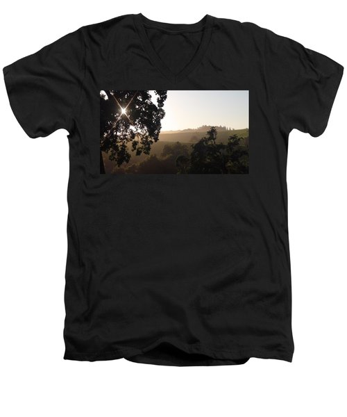 Men's V-Neck T-Shirt featuring the photograph Cali Sun Set by Shawn Marlow
