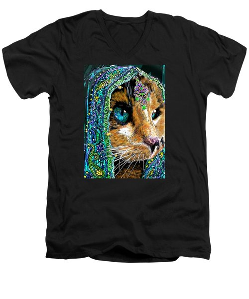 Calico Indian Bride Cats In Hats Men's V-Neck T-Shirt by Michele Avanti
