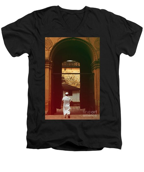 Men's V-Neck T-Shirt featuring the photograph Call To Prayer by Mini Arora