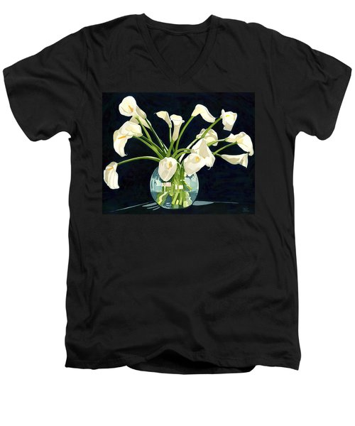 Calla Lilies In Vase Men's V-Neck T-Shirt
