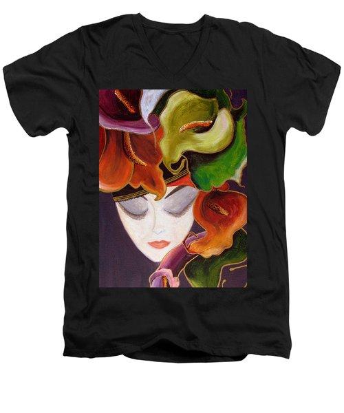 Men's V-Neck T-Shirt featuring the painting Calla Lily Dame.. by Jolanta Anna Karolska