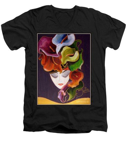 Calla Lily Dame.. Men's V-Neck T-Shirt