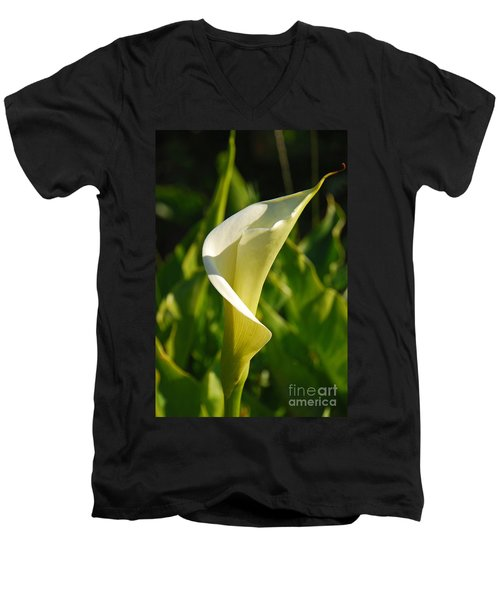 Men's V-Neck T-Shirt featuring the photograph Calla Lily by Mary Carol Story
