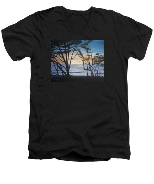 Men's V-Neck T-Shirt featuring the painting Cambria Cypress Trees At Sunset by Ian Donley
