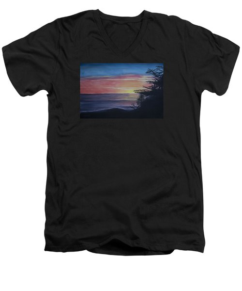 Men's V-Neck T-Shirt featuring the painting Cambria Setting Sun by Ian Donley