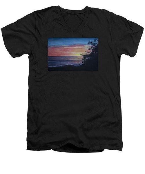 Cambria Setting Sun Men's V-Neck T-Shirt by Ian Donley