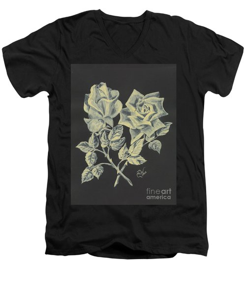 Men's V-Neck T-Shirt featuring the painting Cameo Rose by Carol Wisniewski