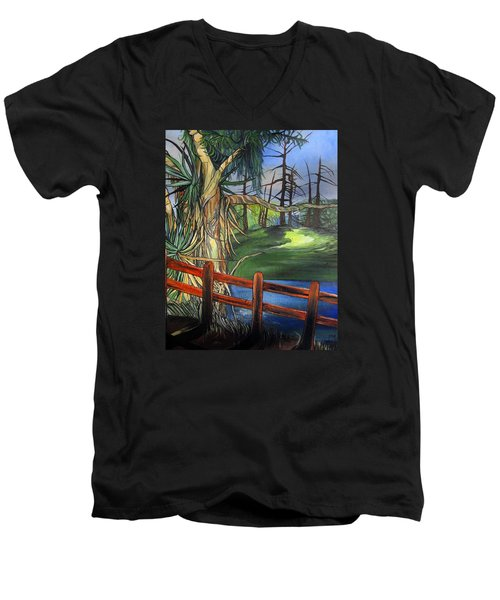 Camino Real Park Men's V-Neck T-Shirt by Mary Ellen Frazee