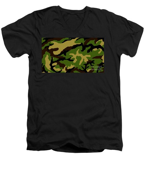 Men's V-Neck T-Shirt featuring the painting Camouflage Military Tribute by Roz Abellera Art
