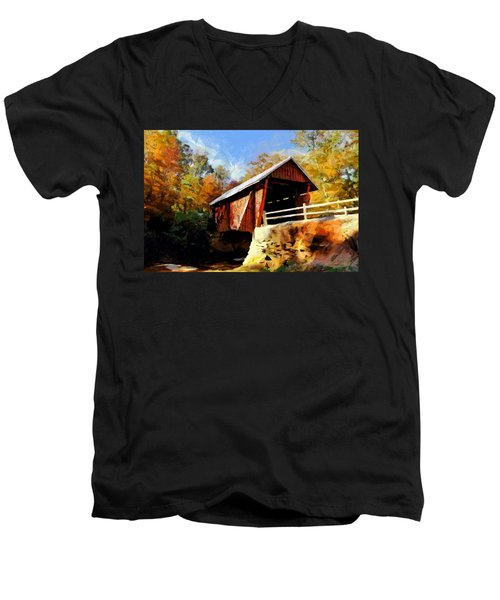 Campbell's Covered Bridge Men's V-Neck T-Shirt