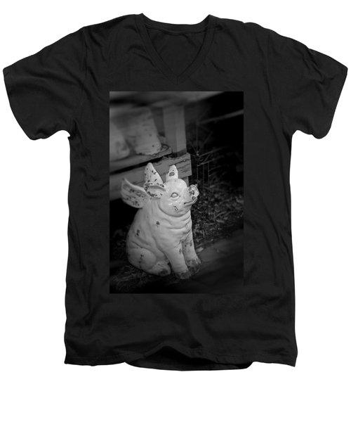 Can A Pig Fly? Men's V-Neck T-Shirt