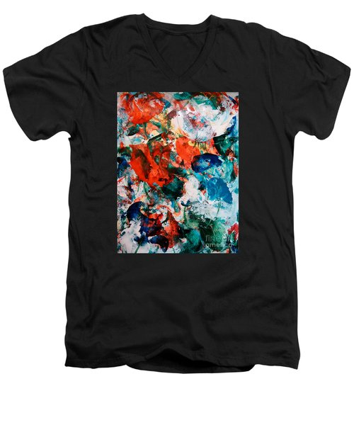 Men's V-Neck T-Shirt featuring the painting Can I Have This Dance by Lori  Lovetere