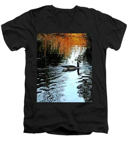 Canadian Goose At Burden  Men's V-Neck T-Shirt