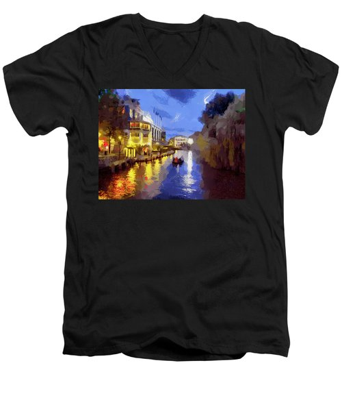 Water Canals Of Amsterdam Men's V-Neck T-Shirt by Georgi Dimitrov