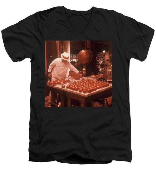 Men's V-Neck T-Shirt featuring the photograph Candy Apple Man by Rodney Lee Williams