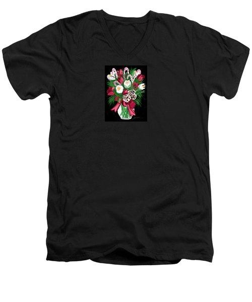 Candy Cane Bouquet Men's V-Neck T-Shirt by Jean Pacheco Ravinski