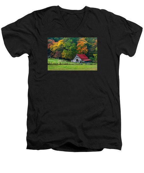 Candy Mountain Men's V-Neck T-Shirt by Debra and Dave Vanderlaan