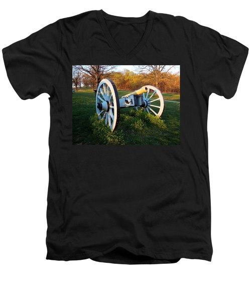 Cannon In The Grass Men's V-Neck T-Shirt by Michael Porchik