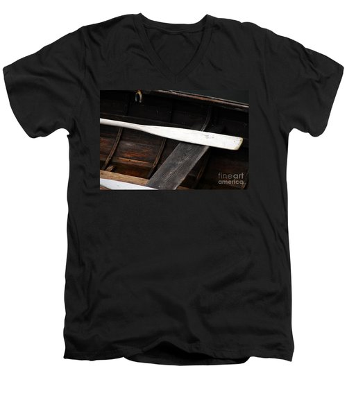 Men's V-Neck T-Shirt featuring the photograph Canoe And Oar by Mary Carol Story
