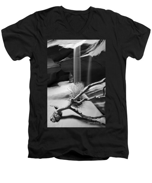 Men's V-Neck T-Shirt featuring the photograph Canyon Sandfall by Bryan Keil