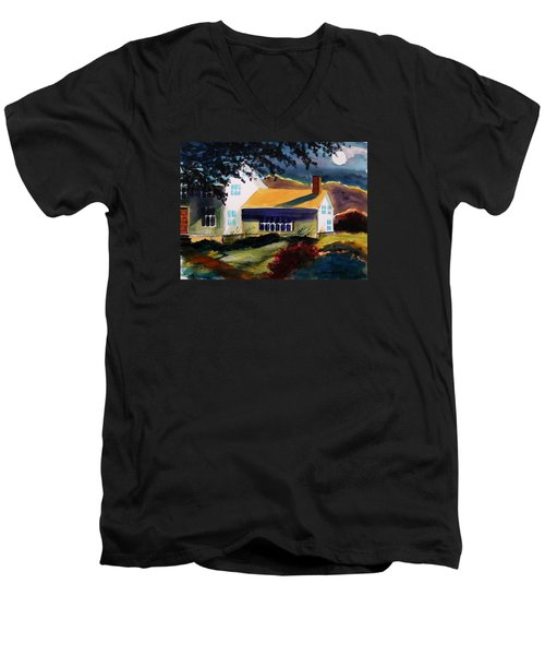 Men's V-Neck T-Shirt featuring the painting Cape Cod Moon by John Williams