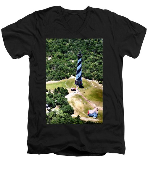 Cape Hatteras Lighthouse From Above Men's V-Neck T-Shirt by Tony Cooper
