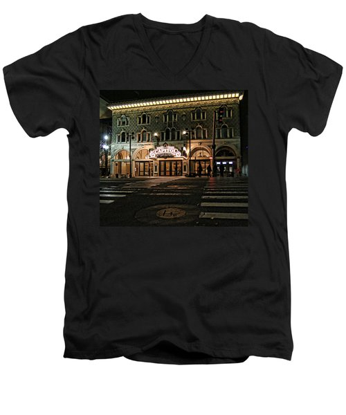 Men's V-Neck T-Shirt featuring the photograph Capitol Theatre by Ely Arsha