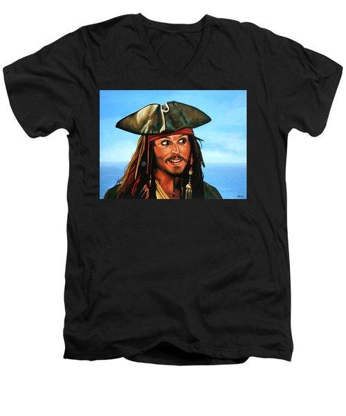 Captain Jack Sparrow Painting Men's V-Neck T-Shirt by Paul Meijering