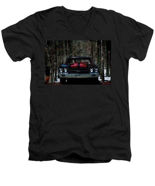 Car Art Chevy Chevelle Ss Hdr Men's V-Neck T-Shirt by Lesa Fine