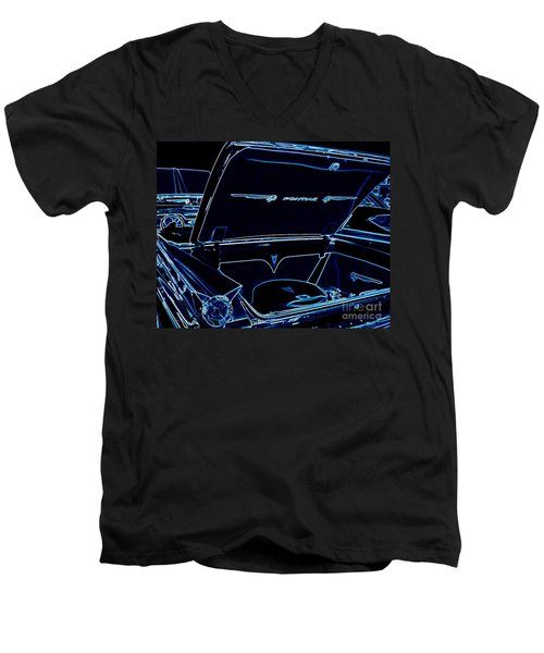 Men's V-Neck T-Shirt featuring the digital art Car Blues by Bobbee Rickard